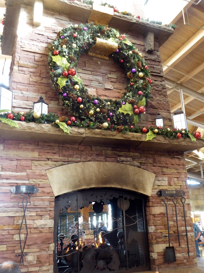 Decorated fireplace in food court
