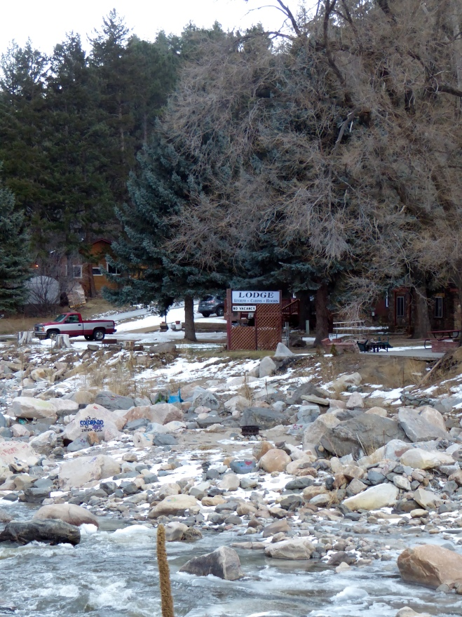 Homes, cabins and lodges on Big Thompson River in Big Thompson Canyon