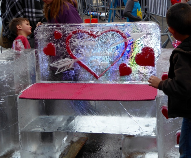 Happy Valentine's Day Ice bench