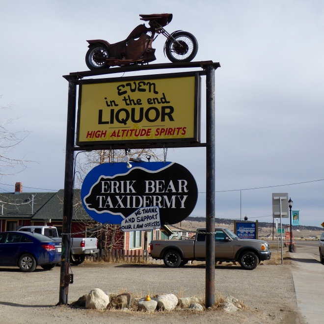 Even signs reflect Old West with motorcycles