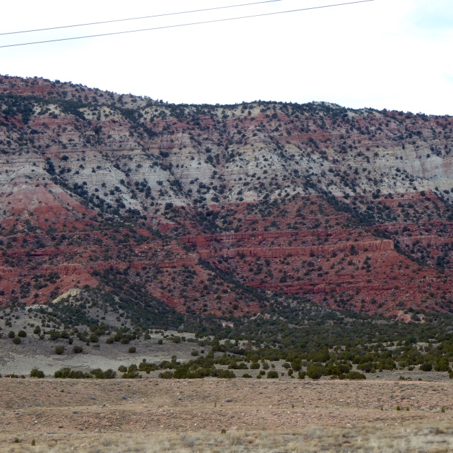 Various colors on same mountain. Minerals give color to rocks