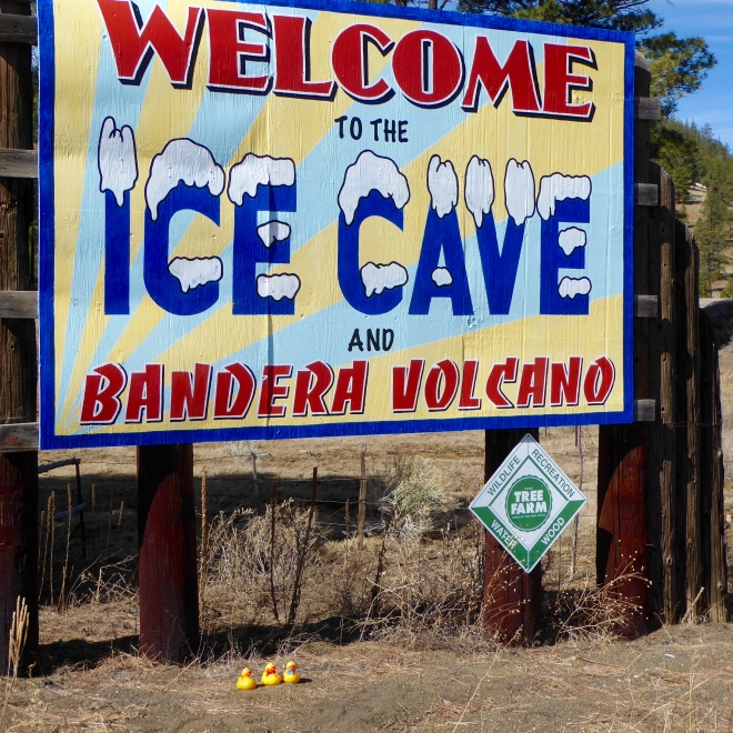Here we are at the entrance to the ice cave and Bandera volcano.