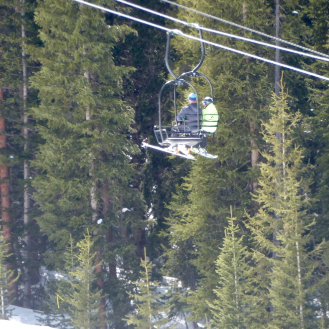 Going up on the chair lift