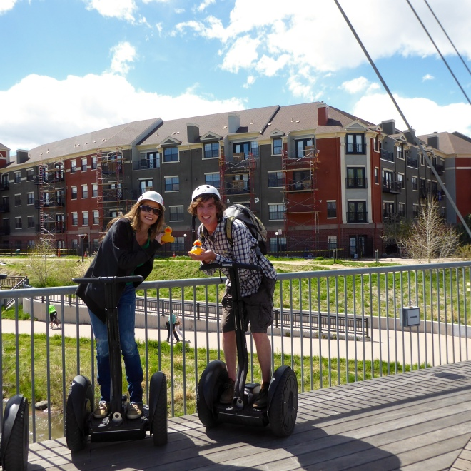 John and Soapy's mom on Segways