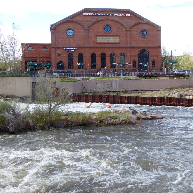 REI and Starbucks on the Platte River