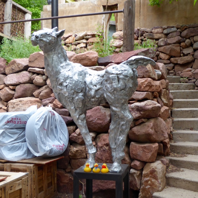Horse sculptured in Eldorado Springs, Colorado
