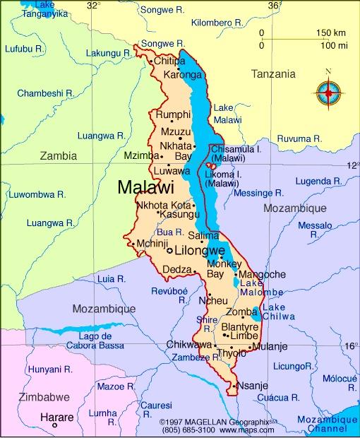 lake malawi in africa map