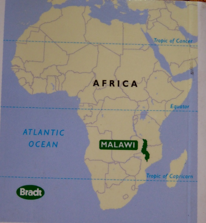 Map of Africa showing Malawi. From Bradt travel guide to Malawi