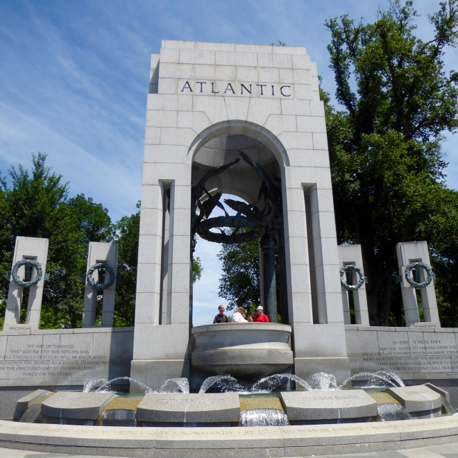 One of two arch entrances to World War II Memorial