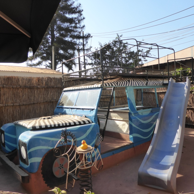 Safari vehicle at Kiboko Town Hotel in Lilongwe, Malawi