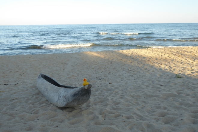 Canoe by our beach on Lake Malawi