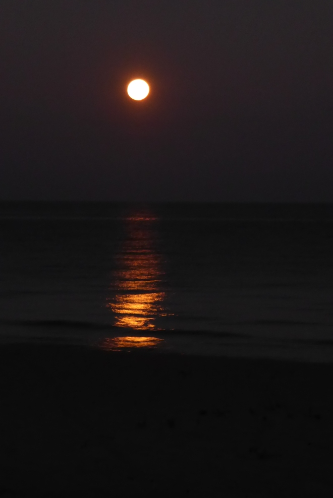 Full moon rising over Lake Malawi