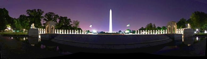 Washington Monument from World War II Memorial at night