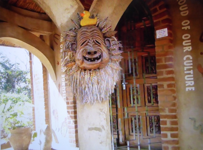 Mask at museum entrance