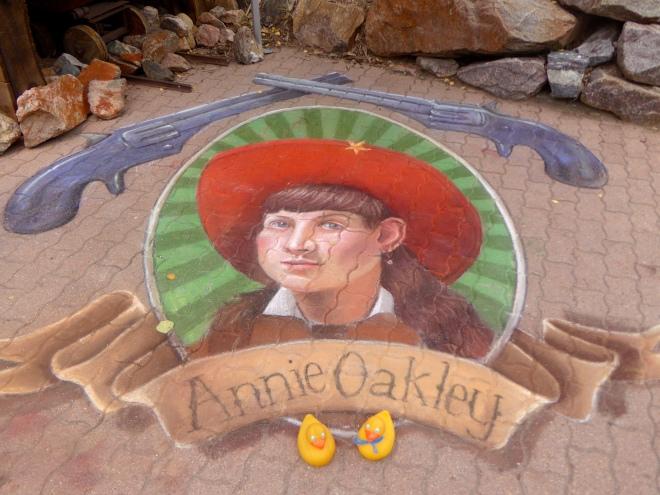 Annie Oakley in chalk