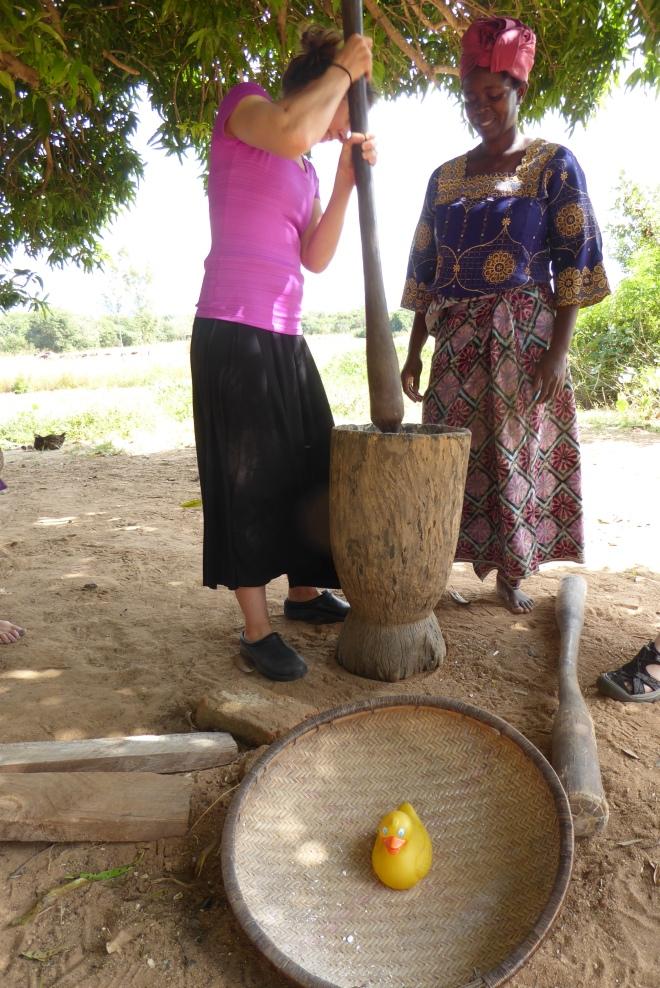 Linda pounding cassava
