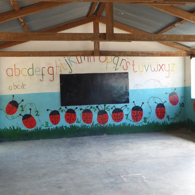 Classroom painted with alphabet and lady bugs, helping to count to 10