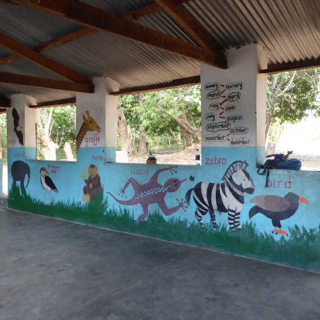 Classroom painted with animals and months on walls