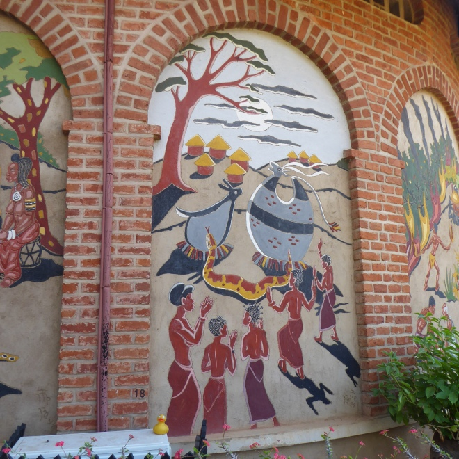 Colorfull murals on outside of Chamare Museum