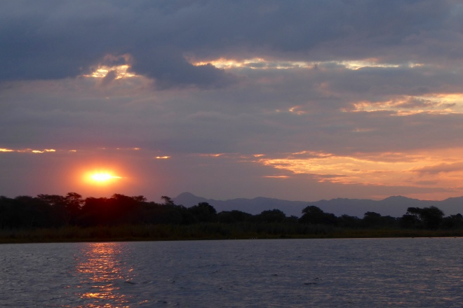 Sun setting over the Shire River in Malawi
