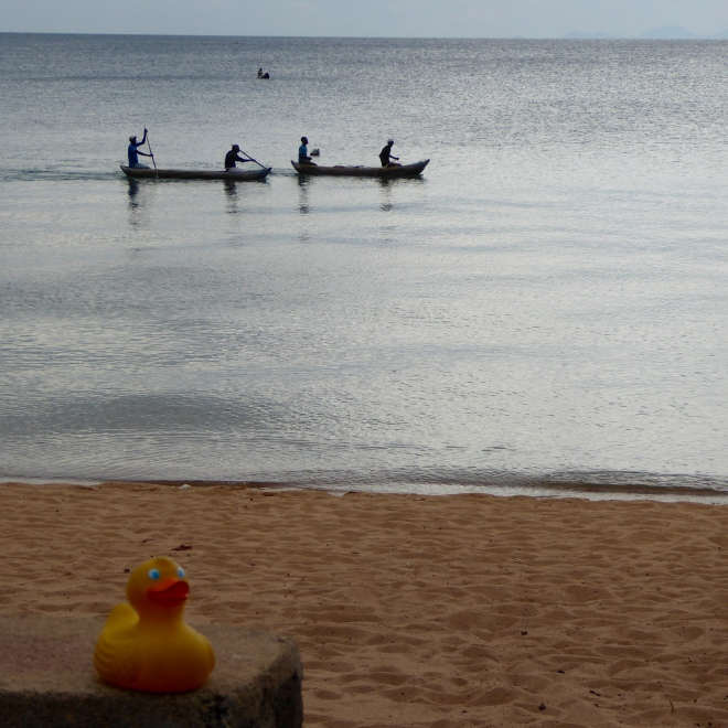 Canoes on Lake Malawi