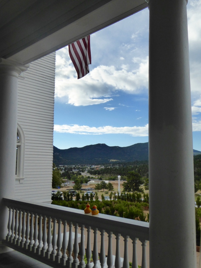 View from terrace while eating breakfast at Stanley Hotel