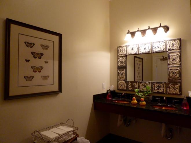 Public ladies room has old fashioned elegance