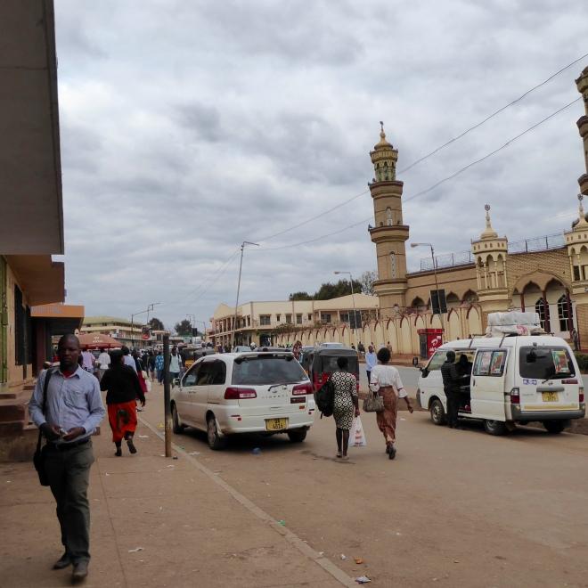 Street scene with mosque