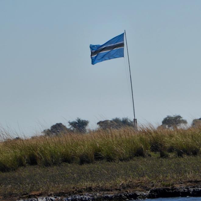Flag of Botswana on Sedudu Island