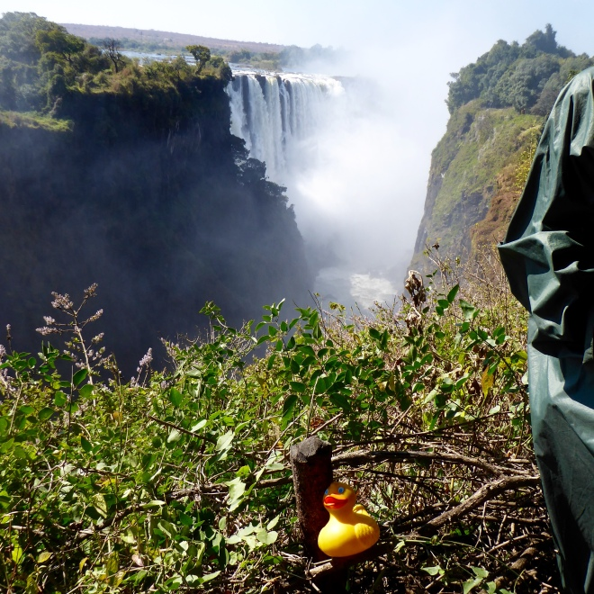 Our first sight of Victoria Falls