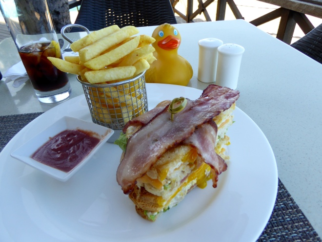 Love the basket for French Fries. First time with bacon on top of sandwich