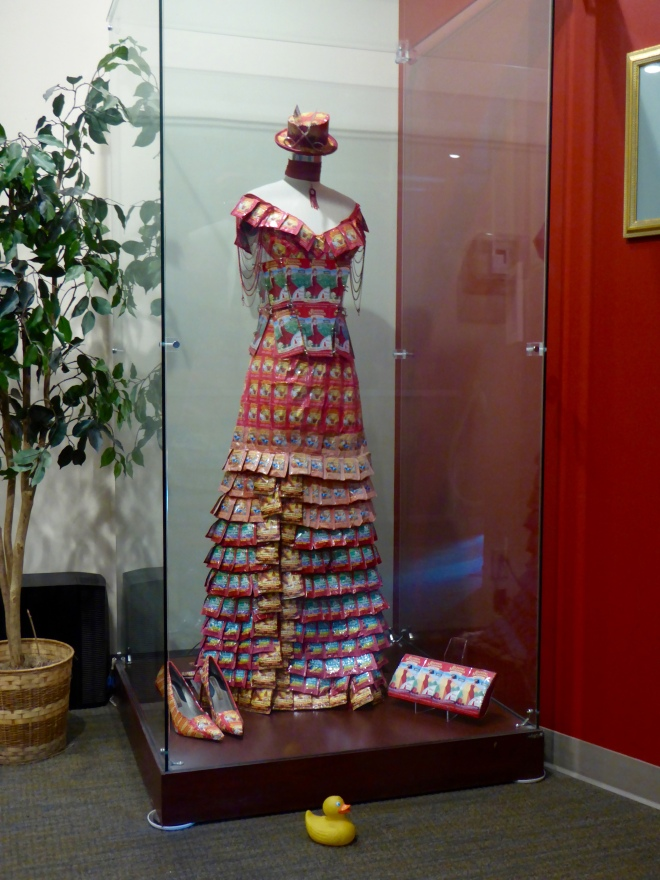 Dress, shoes, purse and hat all made from Celestial Seasonings tea packages.