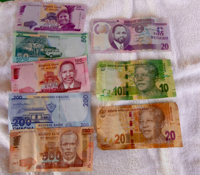 Money from Malawi, Mozambique, and South Africa.