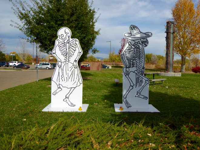 Skeleton Greeters at Longmont Museum