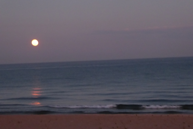 Moon rising over Lake Malawi