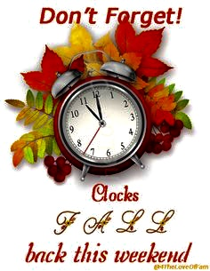 Set clocks back one hour at 2:00 a.m. today.