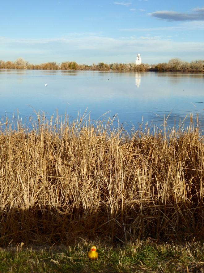Looking across lake to Tower of Memories in Crown Hill Cemetery