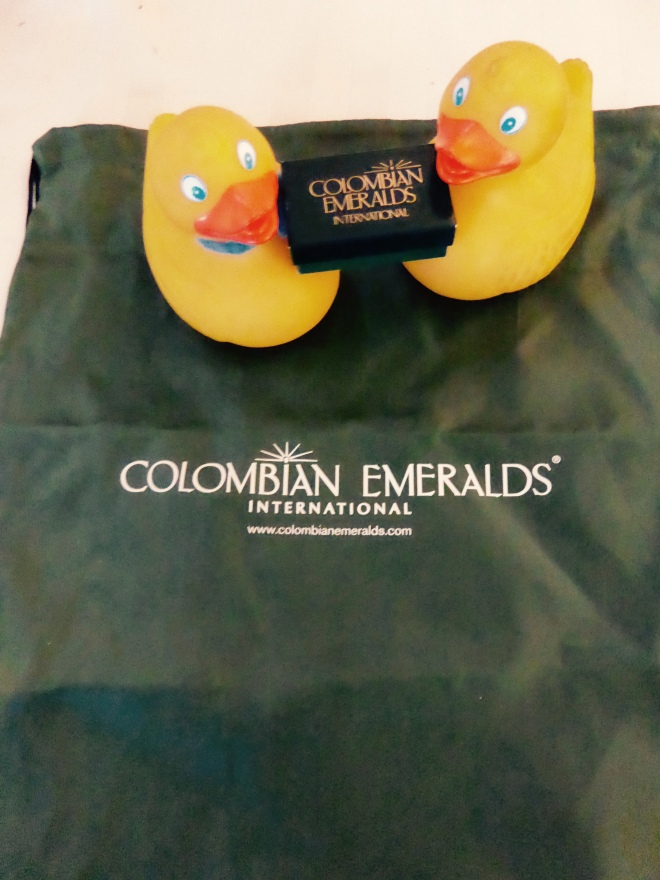Maybe this bag is new traveling bag for ducks. Humans get the emeralds.